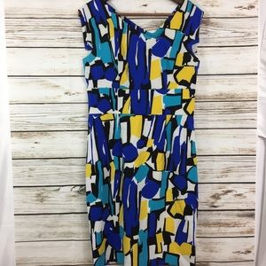 Vintage abstract art wear colorblock career dress